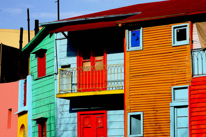 Bright Colored Buildings in South American City Block