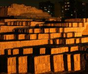 Remains of Huaca Pucllana pyramid in Lima