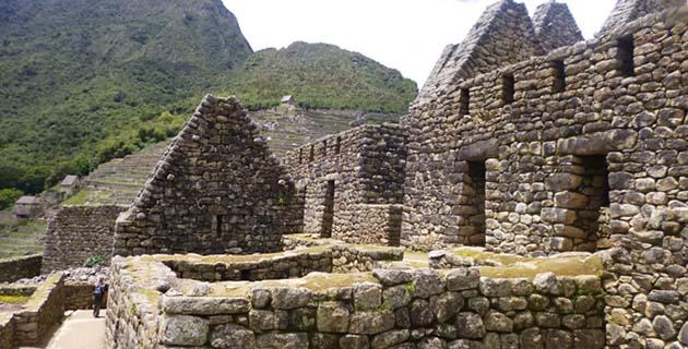 Up close View of Machu Picchu Ruins in Peru