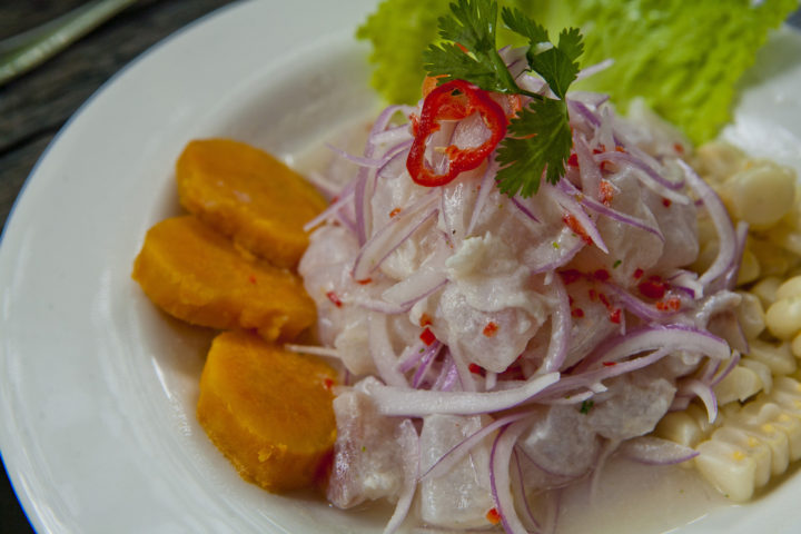 Ceviche on a plate in Lima